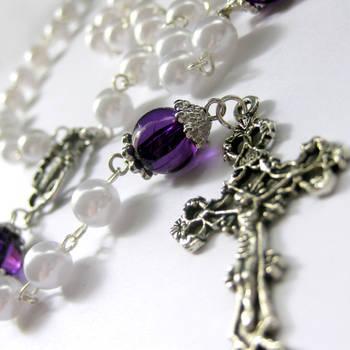 Purple, Pearl n Silver Rosary