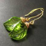 Green Leaf Wire Wrap Earrings