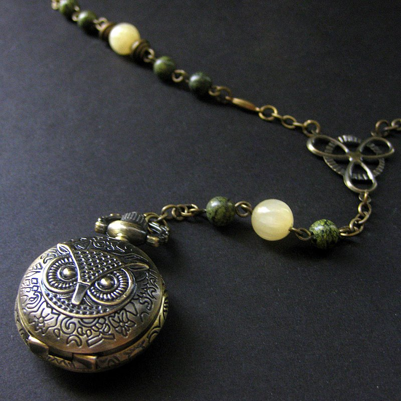 Wise Owl Pocket Watch Necklace by Gilliauna