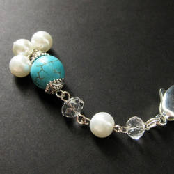 Turquoise Pearl Purse Charm