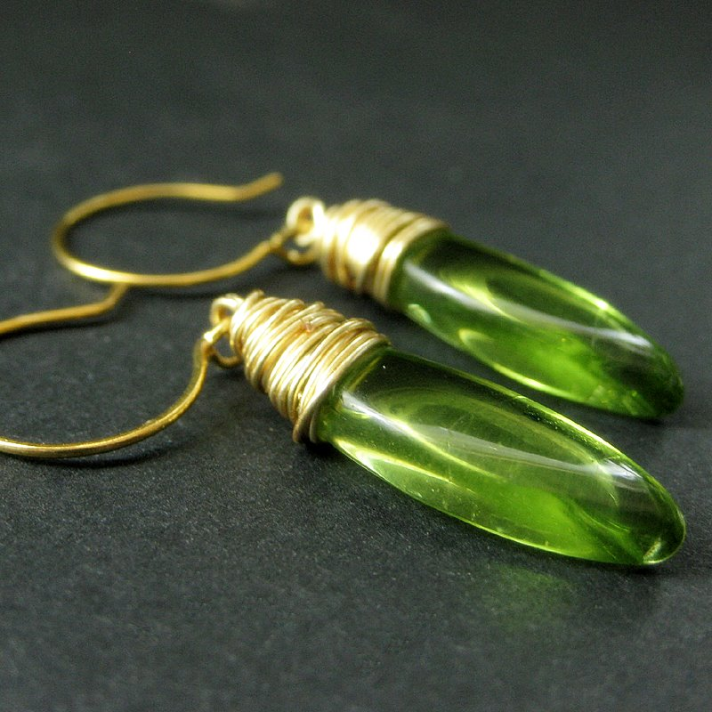 Green Elliptical Earrings by Gilliauna