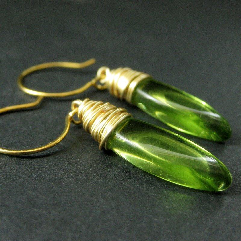 Green Elliptical Earrings