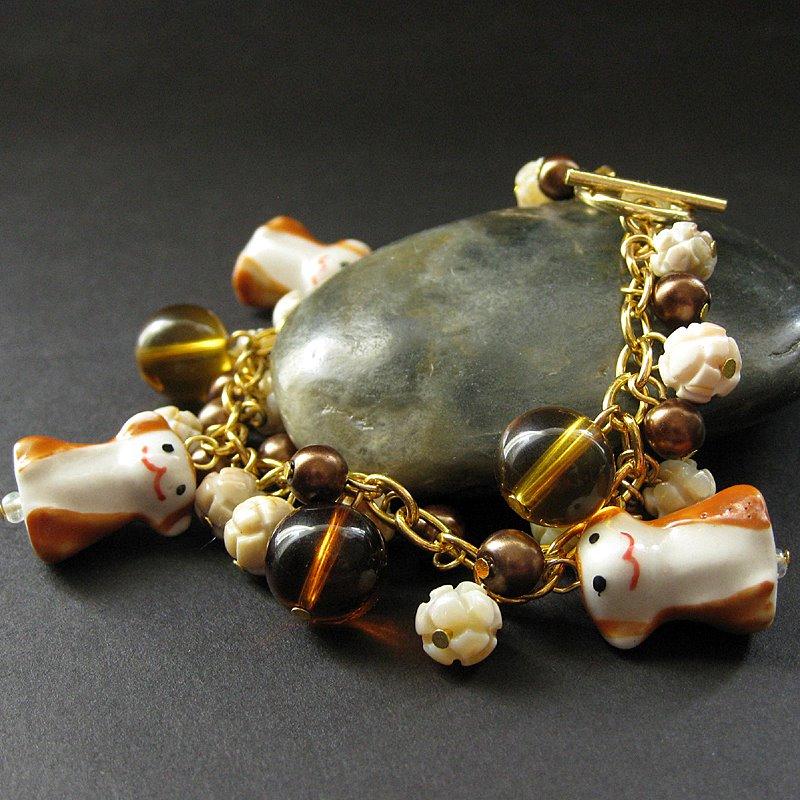 Monkey Charm Bracelet in Shell by Gilliauna