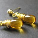 Honey Amber Wire Wrap Earrings