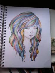 Rainbow hair fun sketch by dolugecat