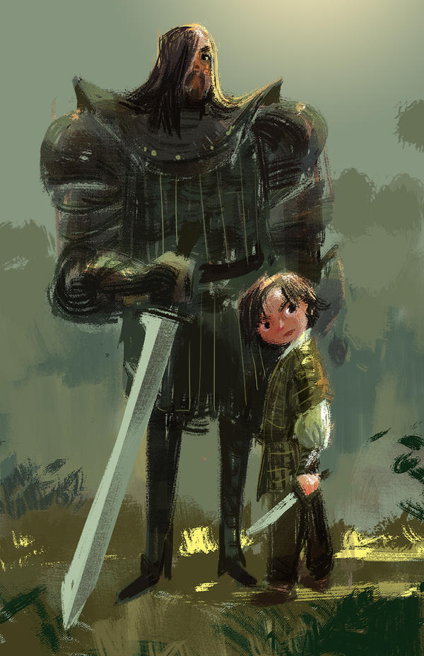 Arya and the Hound by victoria-ying