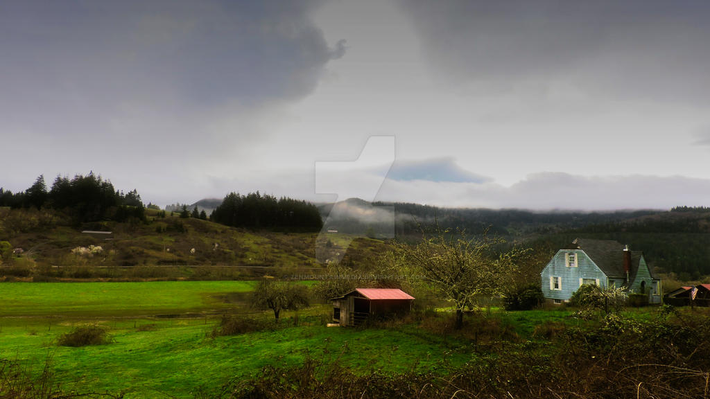 Farm House Overcast Sky-DSCN2318 by zenmountainmedia