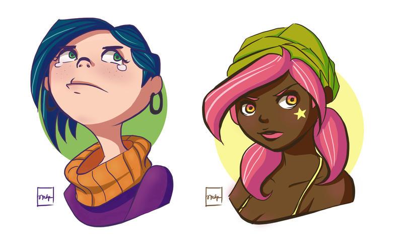 Two Girls + Speedpaint by amaliadaniels