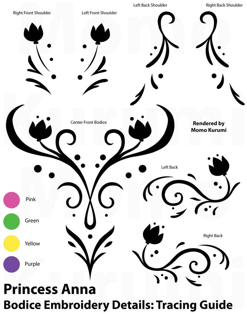 Princess Anna Tracing Stencil: Winter Bodice by MomoKurumi
