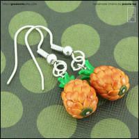 Pineapple Drop Earrings by junosama