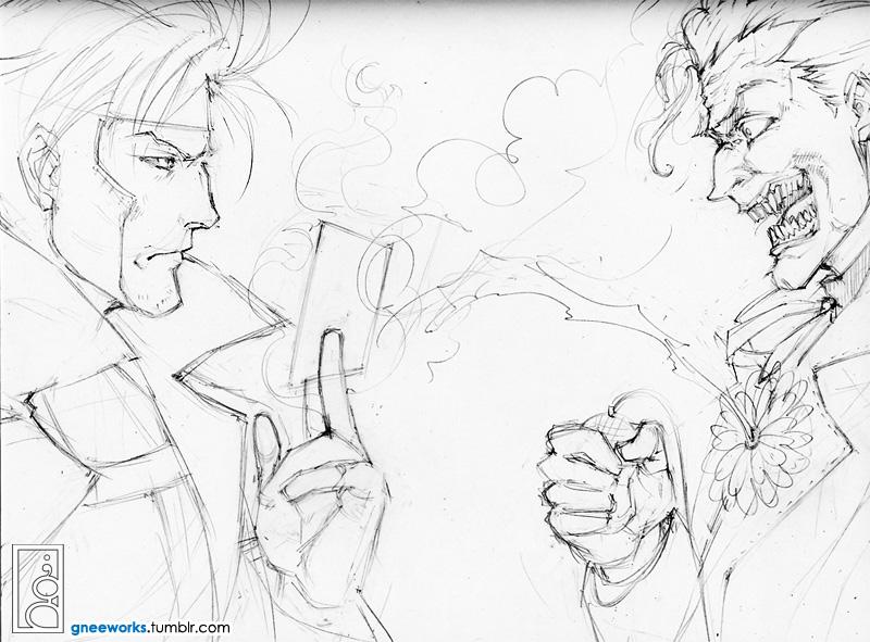 Gambit vs. Joker Commission WIP by junosama