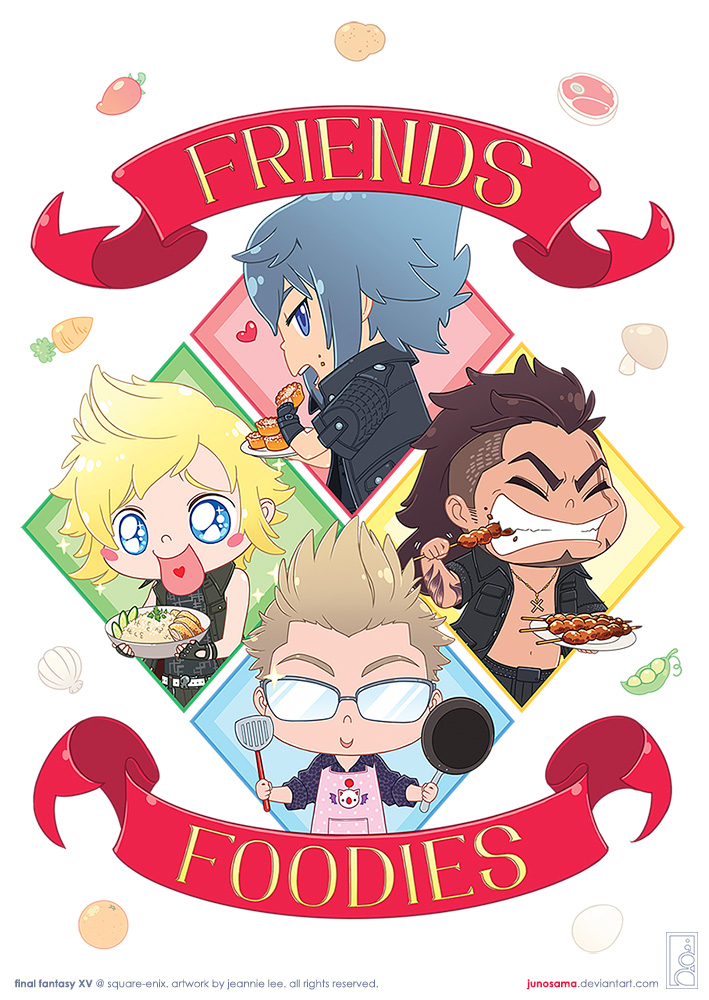Final Fantasy XV: Friends and Foodies by junosama
