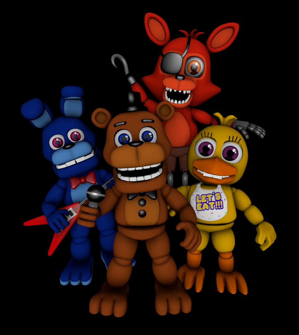 Bonnie, Chica, Foxy, Golden Freddy and by FazbearFaz on