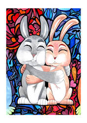 Bunnies Couple - Watercolor