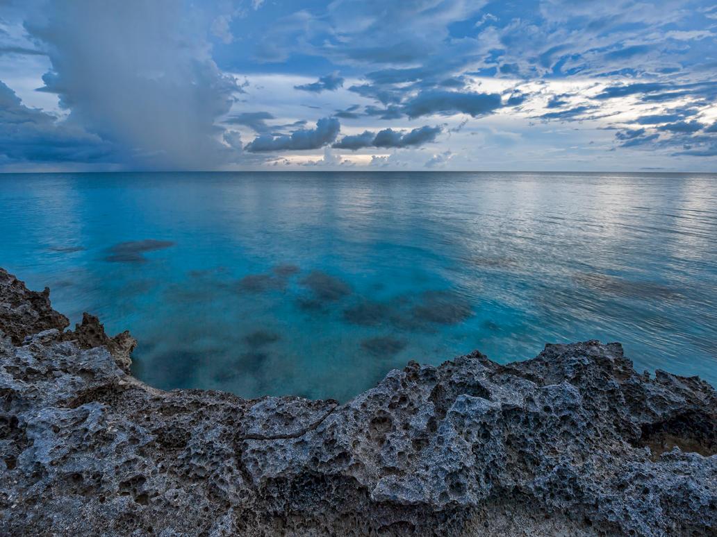 Rock water sky by peterpateman
