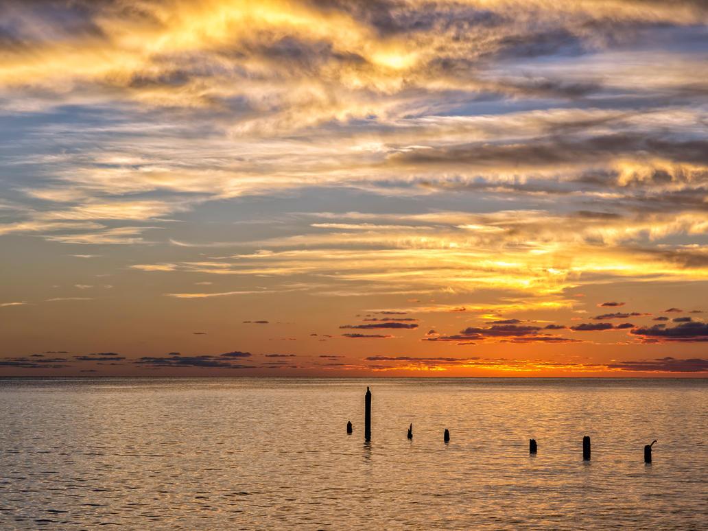 Seven pole sunset by peterpateman