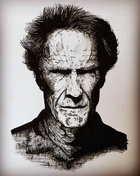 Clint Eastwood ink portrait