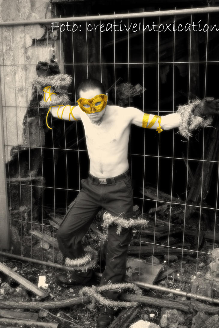 gold-masked tied boy b and w by creativeIntoxication