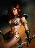 Spiderguile's Red Sonja Coloured by StevenPurtill