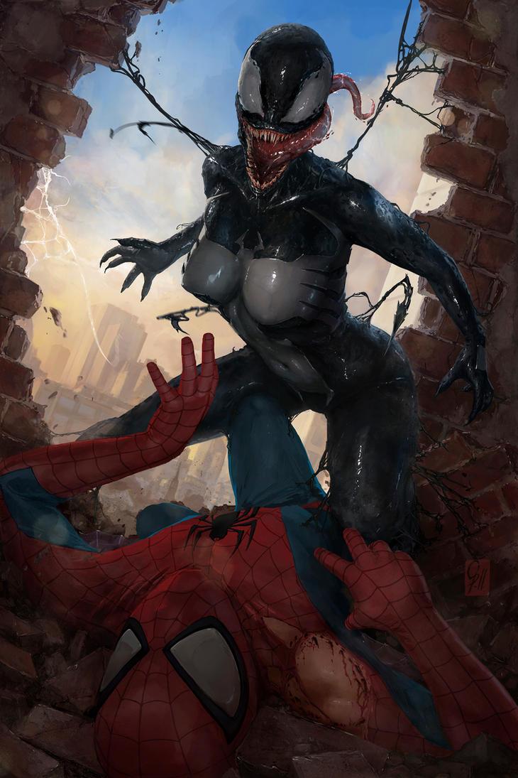 Gwenom V Spidey - Symbiote Face by portohle