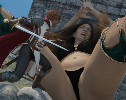Climbing giantess to stab her belly (old test)