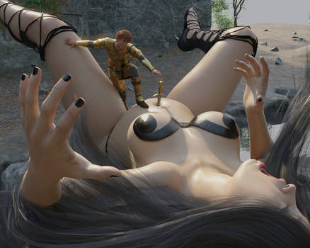 Sword in belly button's giantess (Early Test)