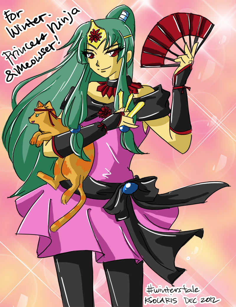 [Doodle] Princess Ninja and Meowser by ksolaris