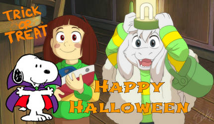 Happy Halloween from Snoopy, Asriel and Chara by ChrisWil96