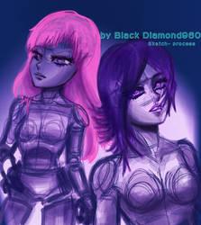 Cool Girls_ drawing process_