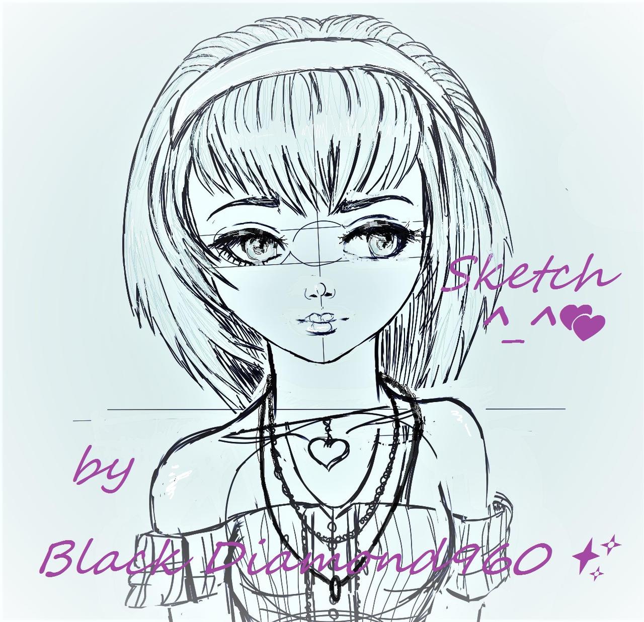 Amy Rose_humanized_process_drawing
