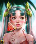 WATERMELON GIRL by Linlinbeebee