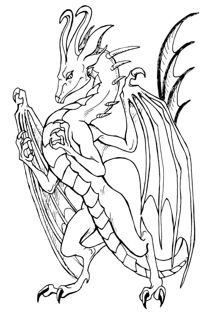 Mero the Chronos Dragon Lineart by LinmirianJoyrex