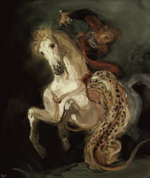 Jaguar Attacking a Horseman by LhuneArt