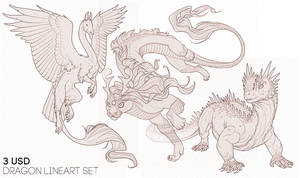 P2U: Dragon Lineart Set by LhuneArt