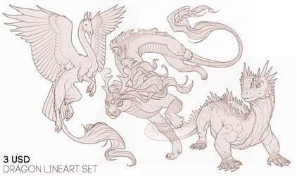 P2U: Dragon Lineart Set