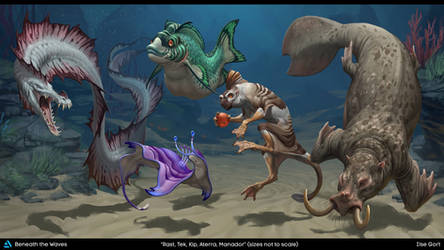 Beneath the Waves: Creatures by LhuneArt