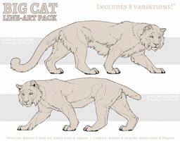 P2U: Big Cat Line-art Pack by LhuneArt