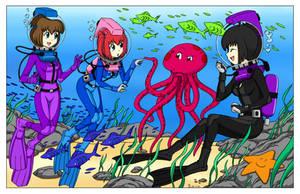Ai-chan, Anabu-chan, and Meimei - Color Commission by The-Sakura-Samurai