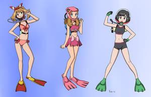 Pokegirls Preparing To Dive - Color Commission by The-Sakura-Samurai