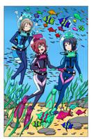 LAMA Aqours at the Aquarium - Color Commission by The-Sakura-Samurai