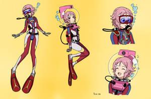 Shinozaki Rika/Lisbeth Scuba - Color Commission by The-Sakura-Samurai
