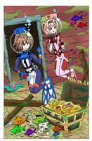 IF and Compa's Treasure Hunt - Color Commission by The-Sakura-Samurai