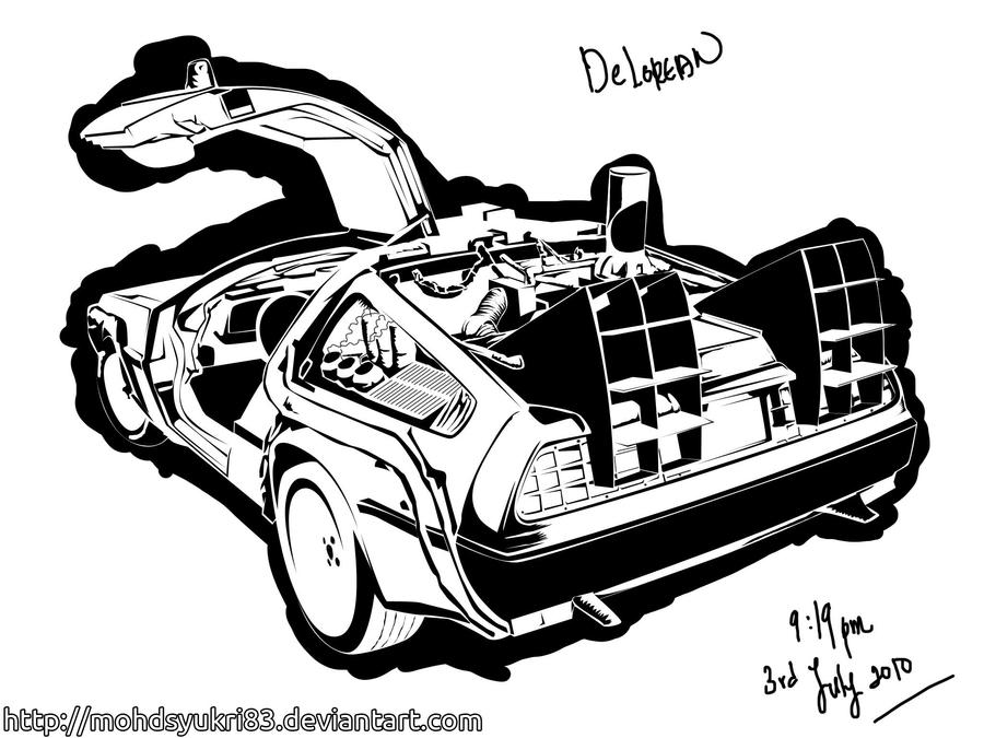 DeLorean lineart by mohdsyukri83