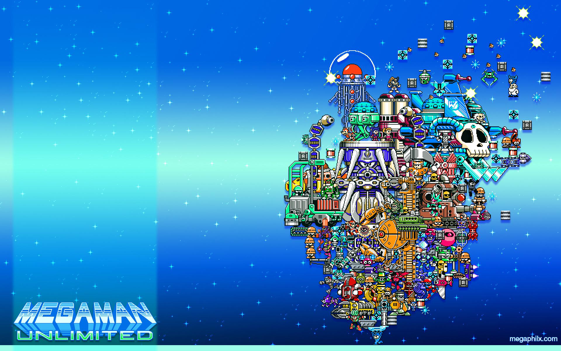 Megaman Unlimited 1st Anniversary Cast Wallpaper by MegaPhilX