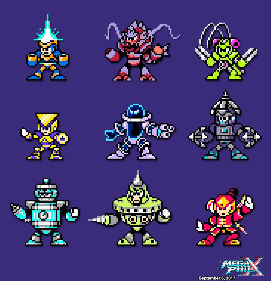 9 New Robot Masters Sprites by MegaPhilX
