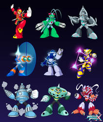 9 New Robot Masters (Illustrations) by MegaPhilX