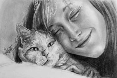 Arya and her Kitty by stargate4ever23