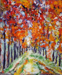 Wooded Avenue.  Monet style.