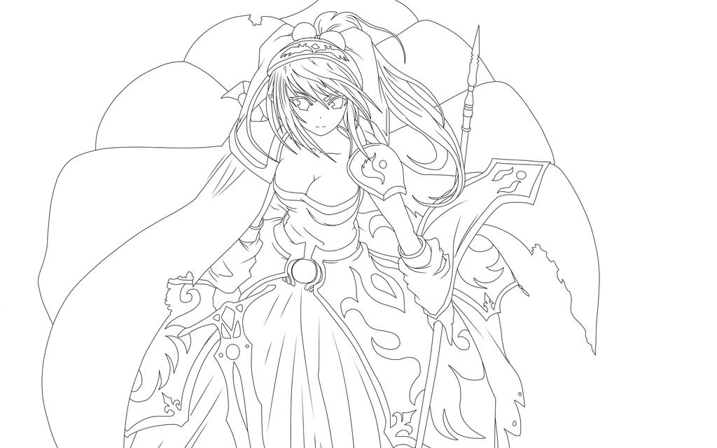 Line Drawing Knight : Girl knight line art by thebadassneko on deviantart
