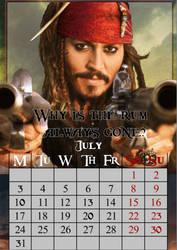 July/CaptainJackSparrow/calendar2017 by MAR-y-s